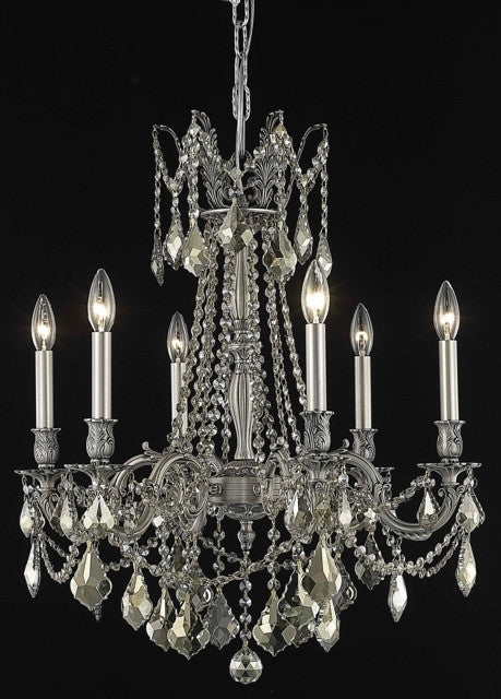 C121-9206D23PW-GT/RC By Elegant Lighting Rosalia Collection 6 Light Chandeliers Pewter Finish
