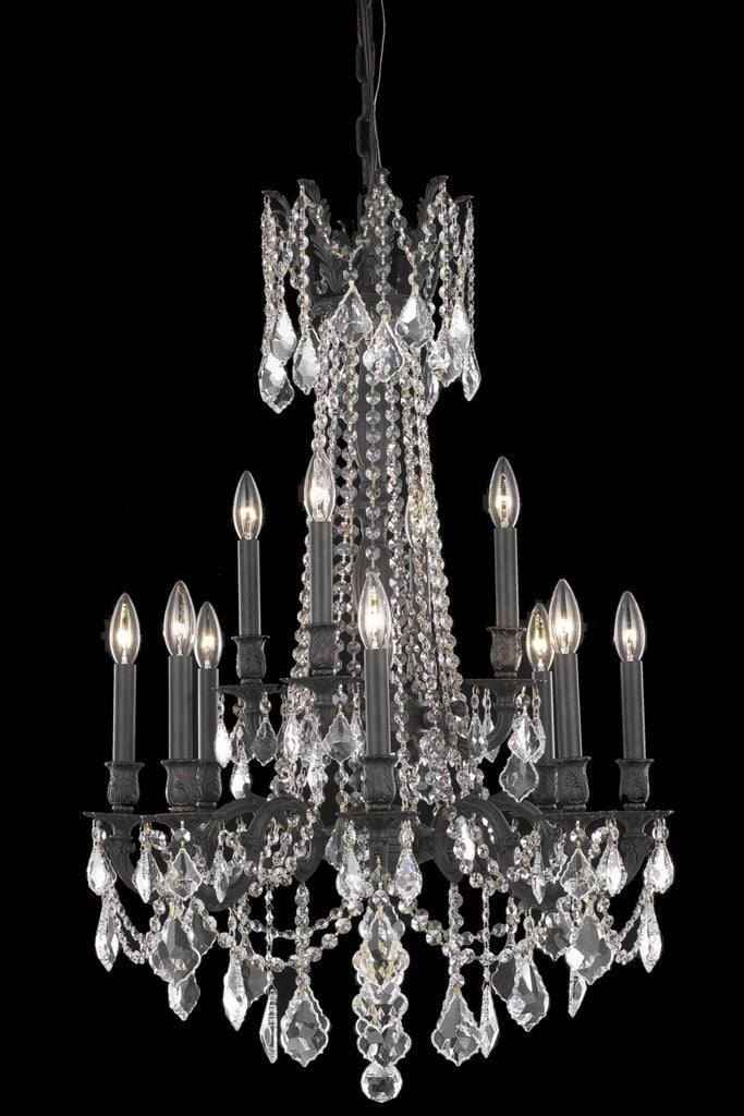 ZC121-9212D24DB/EC By Regency Lighting Rosalia Collection 12 Light Chandeliers Dark Bronze Finish