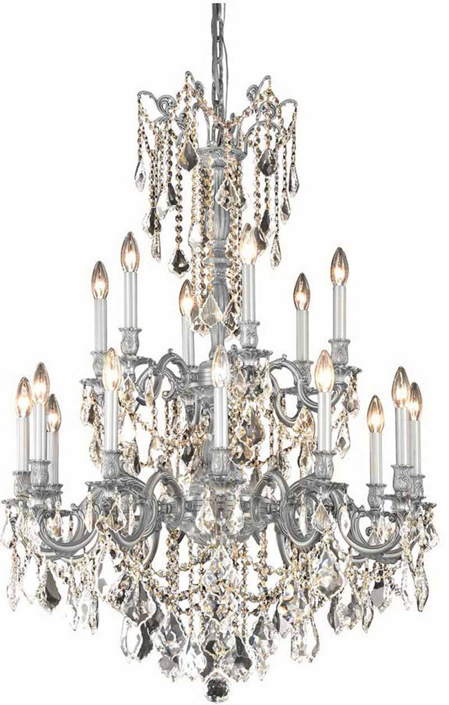 C121-9218D32PW/EC By Elegant Lighting - Rosalia Collection Pewter Finish 18 Lights Dining Room