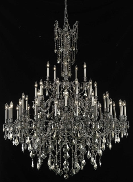 C121-9245G54PW-GT/RC By Elegant Lighting Rosalia Collection 45 Light Chandeliers Pewter Finish