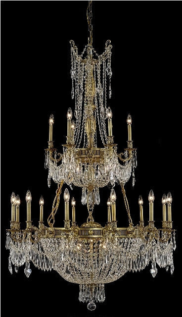 C121-9327G41FG/RC By Elegant Lighting Esperanza Collection 27 Light Chandeliers French Gold Finish