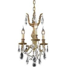 C121-9403D13FG/RC By Elegant Lighting Marseille Collection 3 Lights Chandelier French Gold Finish