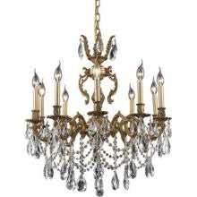 C121-9410D28FG/RC By Elegant Lighting Marseille Collection 10 Lights Chandelier French Gold Finish