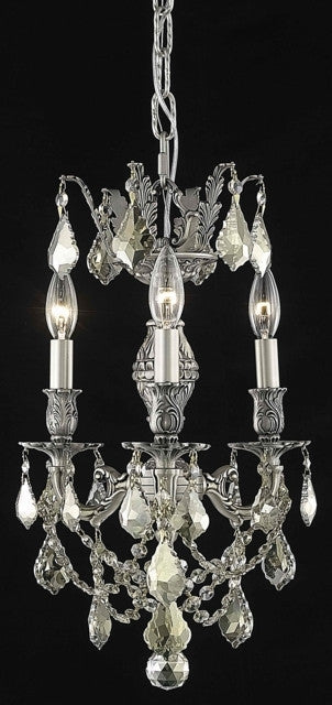C121-9503D13PW-GT/RC By Elegant Lighting Marseille Collection 3 Light Chandeliers Pewter Finish