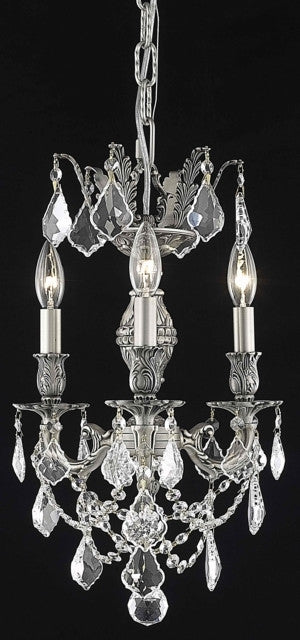 C121-9503D13PW/RC By Elegant Lighting Marseille Collection 3 Light Chandeliers Pewter Finish