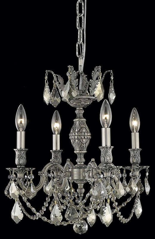 C121-9504D17PW-GT/RC By Elegant Lighting Marseille Collection 4 Light Chandeliers Pewter Finish