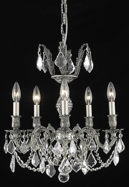 C121-9505D18PW/RC By Elegant Lighting Marseille Collection 5 Light Chandeliers Pewter Finish