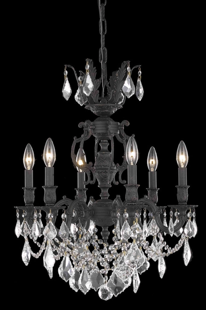 C121-9506D20DB/RC By Elegant Lighting Marseille Collection 6 Light Chandeliers Dark Bronze Finish