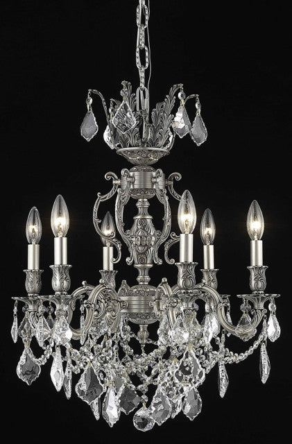 ZC121-9506D20PW/EC By Regency Lighting Marseille Collection 6 Light Chandeliers Pewter Finish