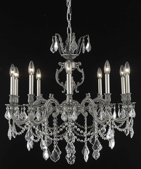 C121-9510D28PW/RC By Elegant Lighting Marseille Collection 10 Light Chandeliers Pewter Finish
