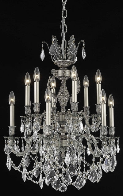 ZC121-9512D24PW/EC By Regency Lighting Marseille Collection 12 Light Chandeliers Pewter Finish