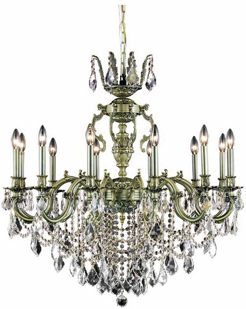 C121-9512D36AB/RC By Elegant Lighting Marseille Collection 12 Light Dining Room Antique Bronze Finish
