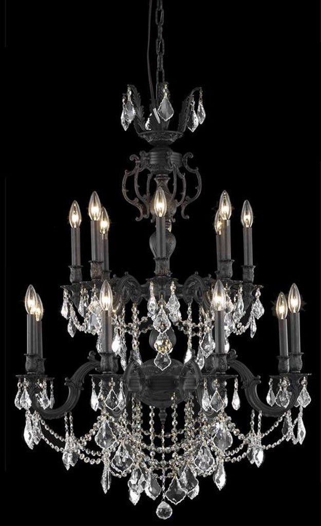 C121-9516D32DB/RC By Elegant Lighting Marseille Collection 16 Light Dining Room Dark Bronze Finish