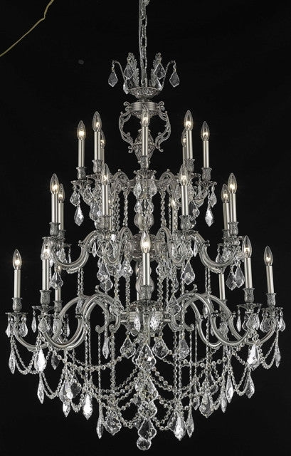 C121-9524G38PW/RC By Elegant Lighting Marseille Collection 24 Light Chandeliers Pewter Finish