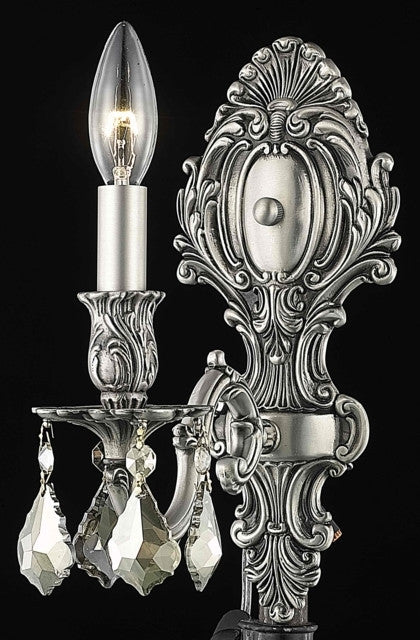 C121-9601W5PW-GT/RC By Elegant Lighting Monarch Collection 1 Light Wall Sconces Pewter Finish