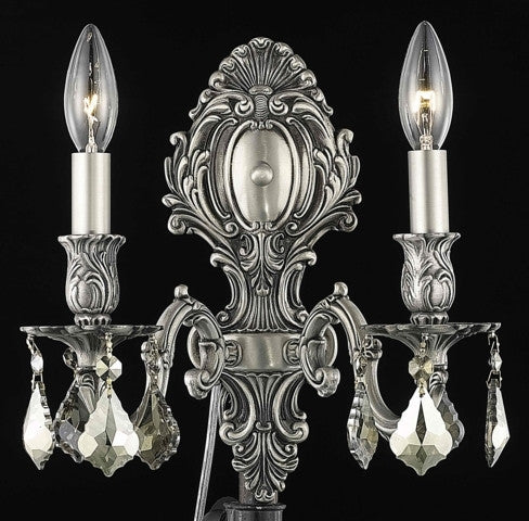 C121-9602W10PW-GT/RC By Elegant Lighting Monarch Collection 2 Light Wall Sconces Pewter Finish