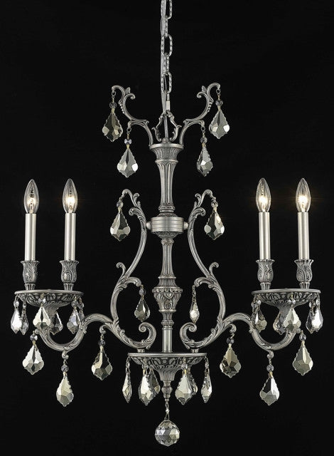 C121-9604D26PW-GT/RC By Elegant Lighting Monarch Collection 4 Light Chandeliers Pewter Finish