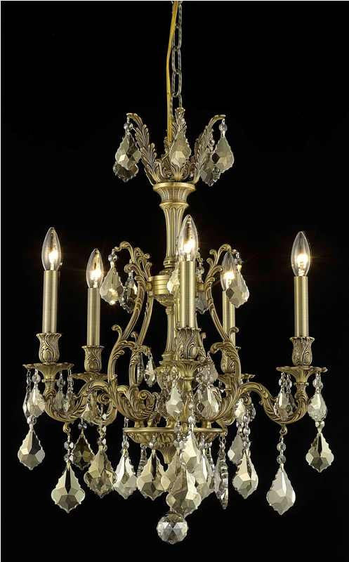 C121-9605D21FG-GT/RC By Elegant Lighting Monarch Collection 5 Light Chandeliers French Gold Finish