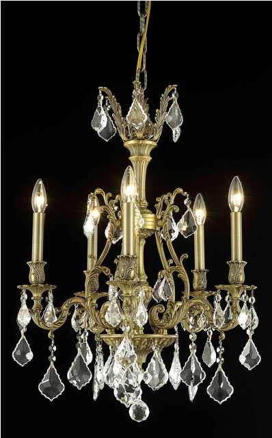 C121-9605D21FG/RC By Elegant Lighting Monarch Collection 5 Light Chandeliers French Gold Finish