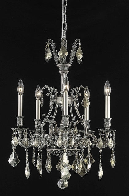 C121-9605D21PW-GT/RC By Elegant Lighting Monarch Collection 5 Light Chandeliers Pewter Finish
