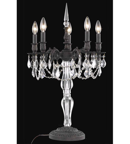 C121-9605TL18DB/RC By Elegant Lighting Monarch Collection 5 Light Table Lamp Dark Bronze Finish