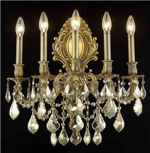 C121-9605W21FG-GT/RC By Elegant Lighting Monarch Collection 5 Light Wall Sconces French Gold Finish