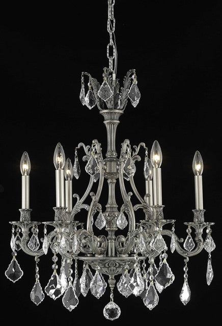 ZC121-9606D24PW/EC By Regency Lighting Monarch Collection 6 Light Chandeliers Pewter Finish