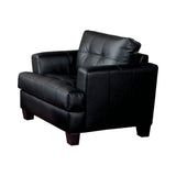 Set of 3 - Samuel Cushion Sofa + Love Seat + Chair Black - D300-10005