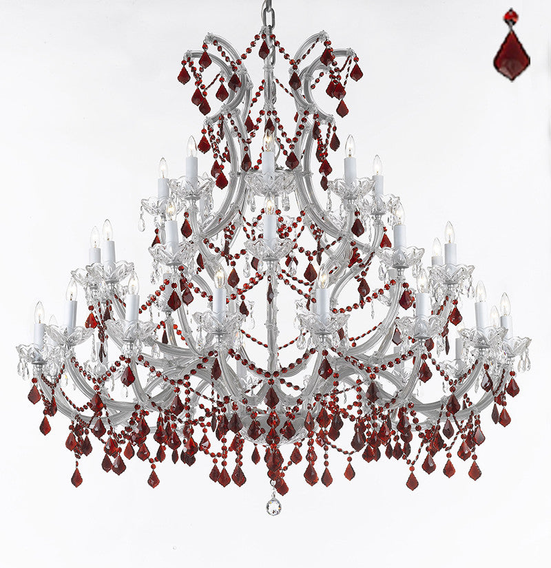"Large Foyer / Entryway Maria Theresa Empress Crystal (Tm) Chandelier Chandeliers Lighting W 52"" H 49"" With Ruby Red Crystals A83-B2/Silver/756/36+1"