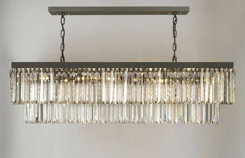 Retro Palladium Glass Fringe Rectangular Chandelier Chandeliers Lighting 47'' Wide - G7-1157/10
