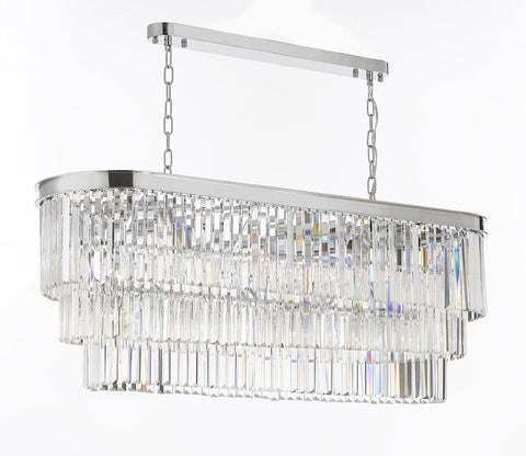 Retro Palladium Glass Fringe Chandelier Lighting Chrome Finish - G7-2164/12