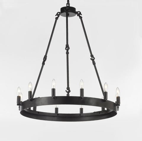 "Wrought Iron Vintage Barn Metal Camino One Tier Chandelier Chandeliers Industrial Loft Rustic Lighting W 26"" H 27"" - G7-3428/12"