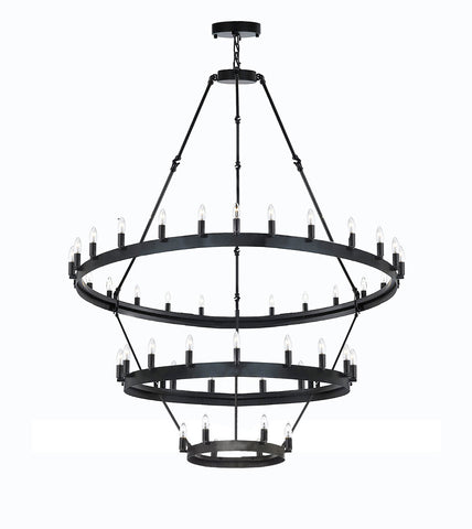 "Wrought Iron Vintage Barn Metal Camino Three Tier Chandelier Chandeliers Industrial Loft Rustic Lighting W 38"" H 65"" - G7-3428/18+12+6"