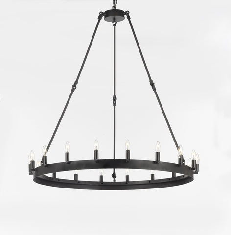 "Wrought Iron Vintage Barn Metal Camino One Tier Chandelier Chandeliers Industrial Loft Rustic Lighting W 38"" H 40"" - G7-3428/18"
