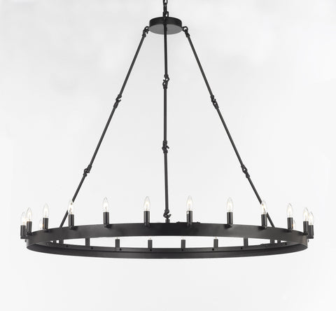 "Wrought Iron Vintage Barn Metal Camino One Tier Chandelier Chandeliers Industrial Loft Rustic Lighting W 50"" H 48"" - G7-3428/24"
