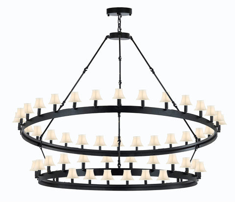 "Wrought Iron Vintage Barn Metal Castile Chandelier Industrial Loft Rustic Lighting W 63"" H 60"" w/White Shades Great for The Living Room, Dining Room, Foyer and Entryway, Family Room, and More - G7-WHITESHADES/3428/54"