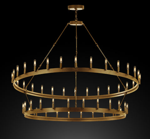 "Wrought Iron Vintage Barn Metal Castile Two Tier Chandelier Industrial Loft Rustic Lighting W 63"" H 60"" in a Brushed Brass Finish Great for The Living Room, Dining Room, Foyer and Entryway, Family Room, and More - G7-CG/3428/54"