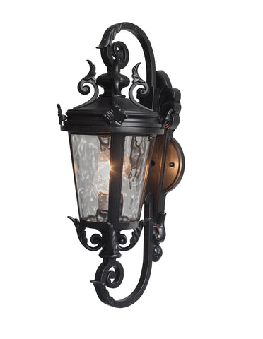 "deCasa Marseille Traditional Outdoor Wall Light Fixture Black Steel Scroll 19"" for Exterior House Porch Patio - G7-4583/19"