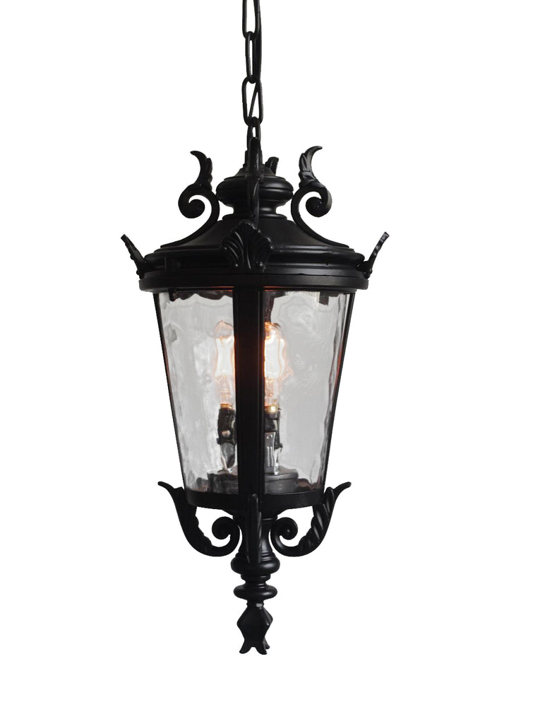 "deCasa Marseille Traditional Outdoor Ceiling Light Hanging Black Scroll 26 1/4"" Clear Water Glass Damp Rated for Porch Entryway - G7-4583/26"