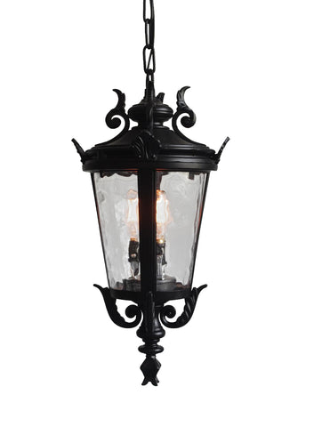 "Casa Marseille Traditional Outdoor Ceiling Light Hanging Black Scroll 26 1/4"" Clear Water Glass Damp Rated for Porch Entryway - G7-4583/26"
