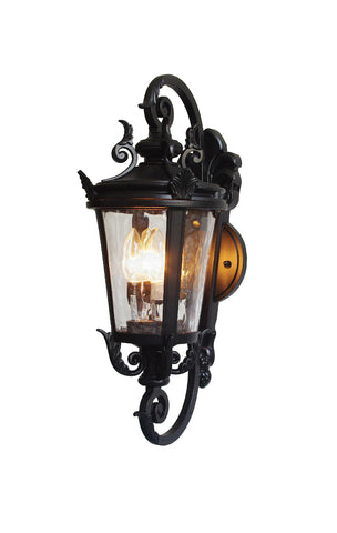 "deCasa Marseille Traditional Outdoor Wall Light Fixture Mediterranean Black Double Scroll Arm 36"" for Exterior Porch Patio - G7-4583/36"
