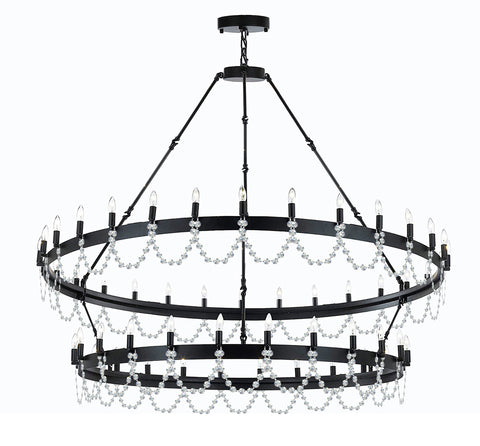 "Wrought Iron Vintage Barn Metal Castile Two Tier Chandelier Chandeliers Industrial Loft Rustic Lighting W63"" x H60"" - Dressed with Crystal - Great for The Living Room, Dining Room, Foyer and Entryway, Family Room, and More - G7-B12/3428/54"