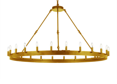 "Wrought Iron Vintage Barn Metal Castile 1 Tier Chandelier Industrial Loft Rustic Lighting W 50"" H 34"" - G7-B48/CG/3428/24"