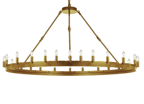 "Wrought Iron Vintage Barn Metal Castile One Tier Chandelier Industrial Loft Rustic Lighting W 63"" H 34"""
