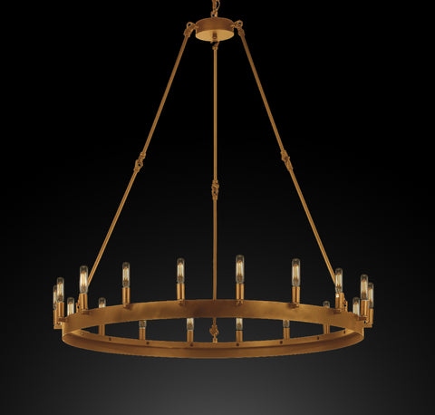 "Wrought Iron Vintage Barn Metal Castile One Tier Chandelier Chandeliers Industrial Loft Rustic Lighting W 38"" H 40"" - G7-CG/3428/18"