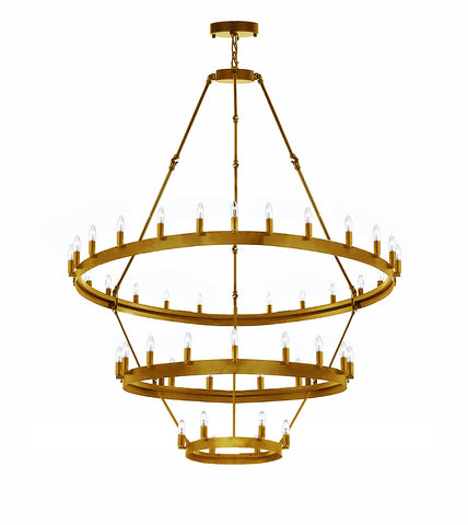 "Wrought Iron Vintage Barn Metal Castile Three Tier Chandelier Chandeliers Industrial Loft Rustic Lighting W 38"" H 65"" - G7-CG/3428/18+12+6"