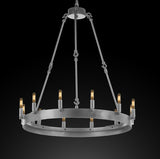 "Wrought Iron Vintage Barn Metal Camino One Tier Chandelier Chandeliers Industrial Loft Rustic Lighting W 26"" H 27"" - G7-CS/3428/12"