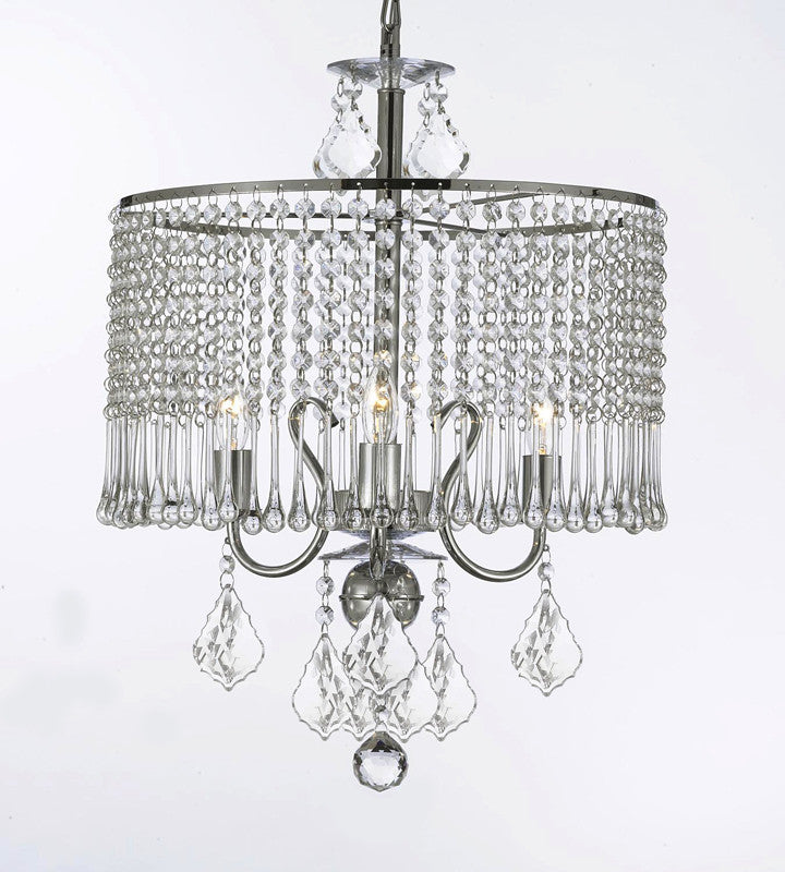 Contemporary 3-Light Crystal Chandelier Lighting With Crystal Shade Swag Plug In-Chandelier W/ 14' Feet Of Hanging Chain And Wire - J10-B15/26071/3