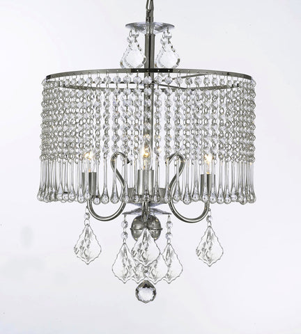 Contemporary 3-Light Crystal Chandelier Lighting With Crystal Shade Swag Plug In-Chandelier W/ 14' Feet Of Hanging Chain And Wire - G7-B15/1000/3