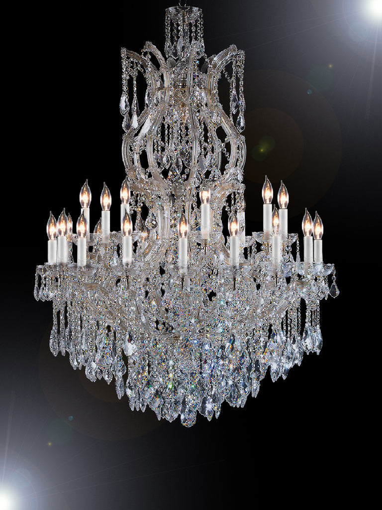 "Maria Theresa Chandelier Crystal Lighting Chandeliers H 50"" W 37"" Great For Large Foyer / Entryway Trimmed With Spectra (Tm) Crystal - Reliable Crystal Quality By Swarovski - Antique French Gold Color - G83-Cg/2232/24+1Sw"